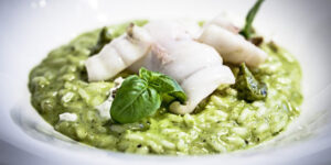 ricetta risotto crema di pistacchi calamari e provola